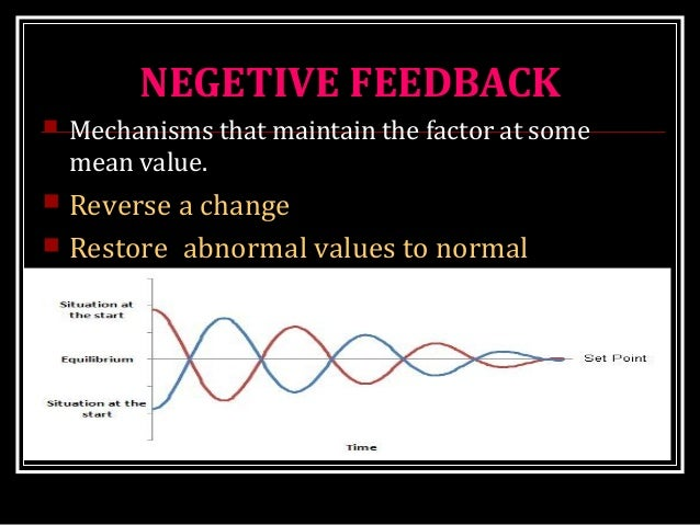 NEGETIVE FEEDBACK  Mechanisms that maintain the factor at some mean value.  Reverse a change  Restore abnormal values t...