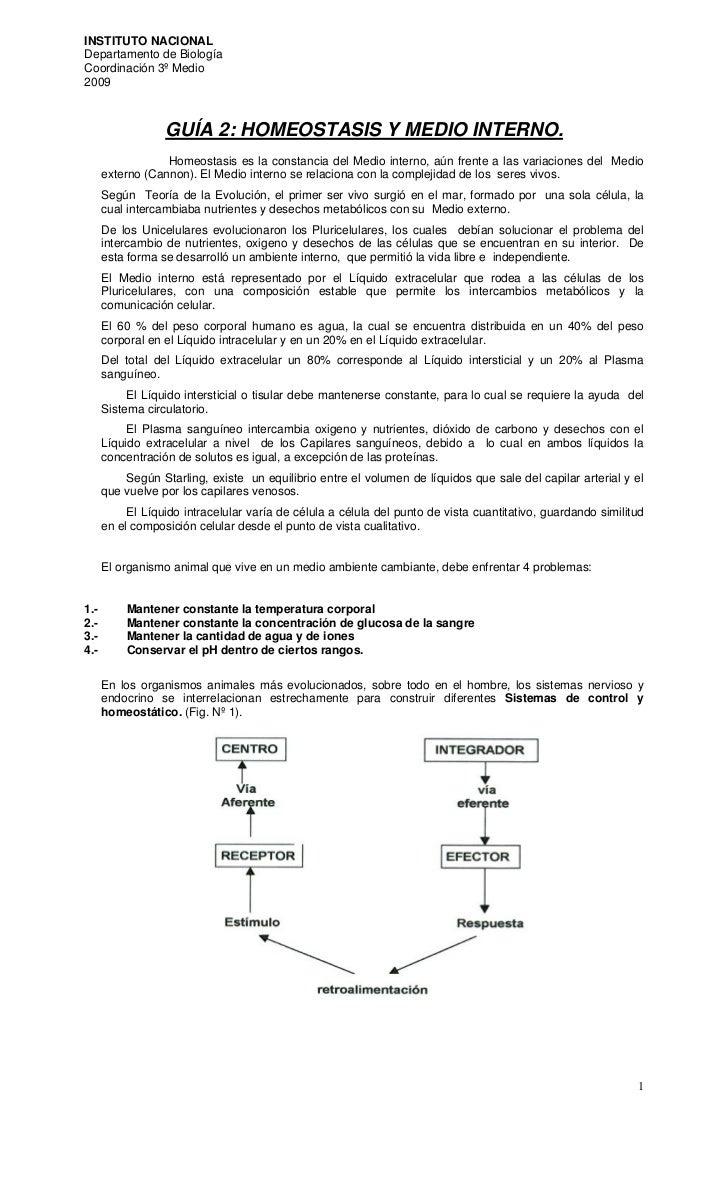 INSTITUTO NACIONAL Departamento de Biología Coordinación 3º Medio 2009                      GUÍA 2: HOMEOSTASIS Y MEDIO IN...