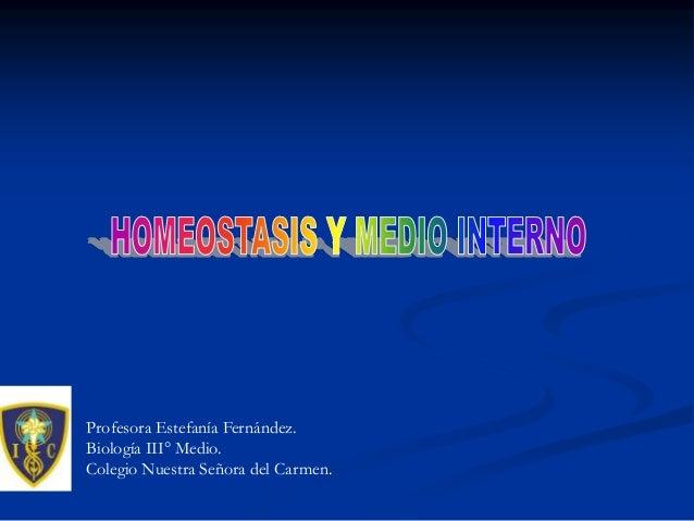 Profesora Estefanía Fernández. Biología III° Medio. Colegio Nuestra Señora del Carmen.