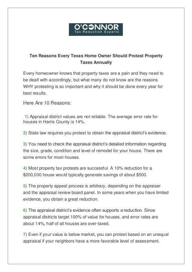 Ten Reasons Every Texas Home Owner Should Protest Property