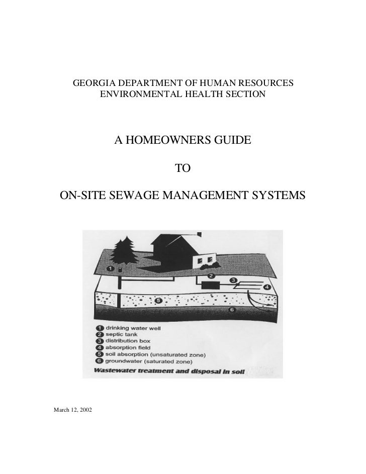 GEORGIA DEPARTMENT OF HUMAN RESOURCES          ENVIRONMENTAL HEALTH SECTION                 A HOMEOWNERS GUIDE            ...