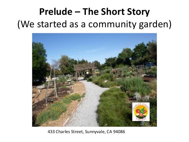 Prelude – The Short Story (We started as a community garden) 433 Charles Street, Sunnyvale, CA 94086