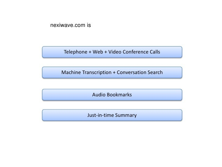 nexiwave.com is         Telephone + Web + Video Conference Calls       Machine Transcription + Conversation Search        ...