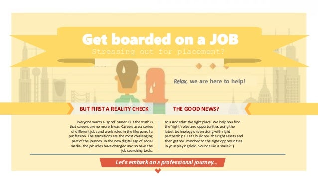 Get boarded on a JOB Stressing out for placement? Relax, we are here to help! BUT FIRST A REALITY CHECK THE GOOD NEWS? Eve...