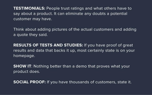 TESTIMONIALS:  People trust ratings and what others have to say about a product.  It can eliminate any doubts a potential ...