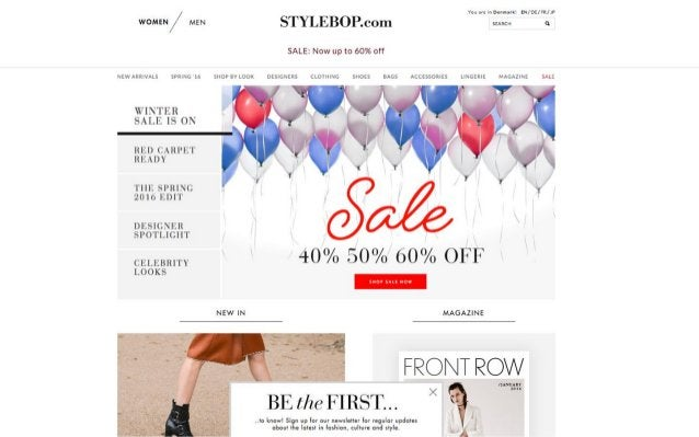 Von are -1: Denmark:  E/ D5/FEIJF wo»= ~/ Mm STYLEBOP. com  I  SALE:  Now up to 60% off  NEW ARRIVALS SPRING '16 SHOP av L...