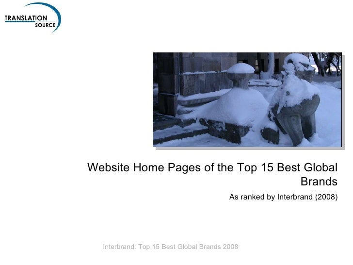 Website Home Pages of the Top 15 Best Global Brands As ranked by Interbrand (2009)