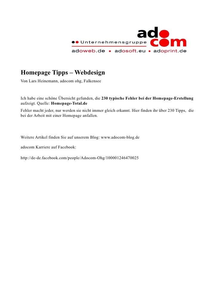 Homepage Tipps – Webdesign Von Lars Heinemann, adocom ohg, Falkensee   Ich habe eine schöne Übersicht gefunden, die 230 ty...