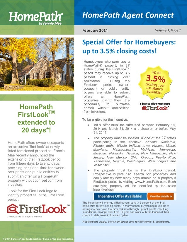 Homepath Fannie Mae Up To 3 5 Closing Cost Assistance