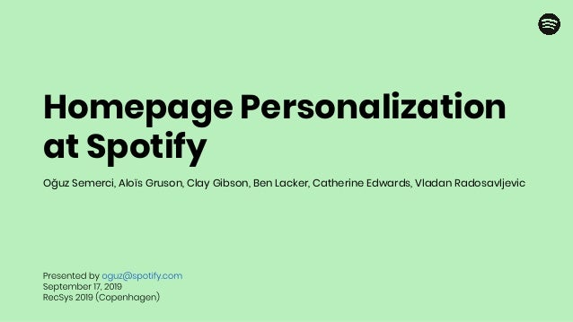 Homepage Personalization at Spotify