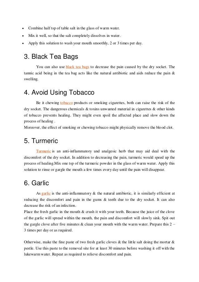 Bag for dry socket tea 6 Dry
