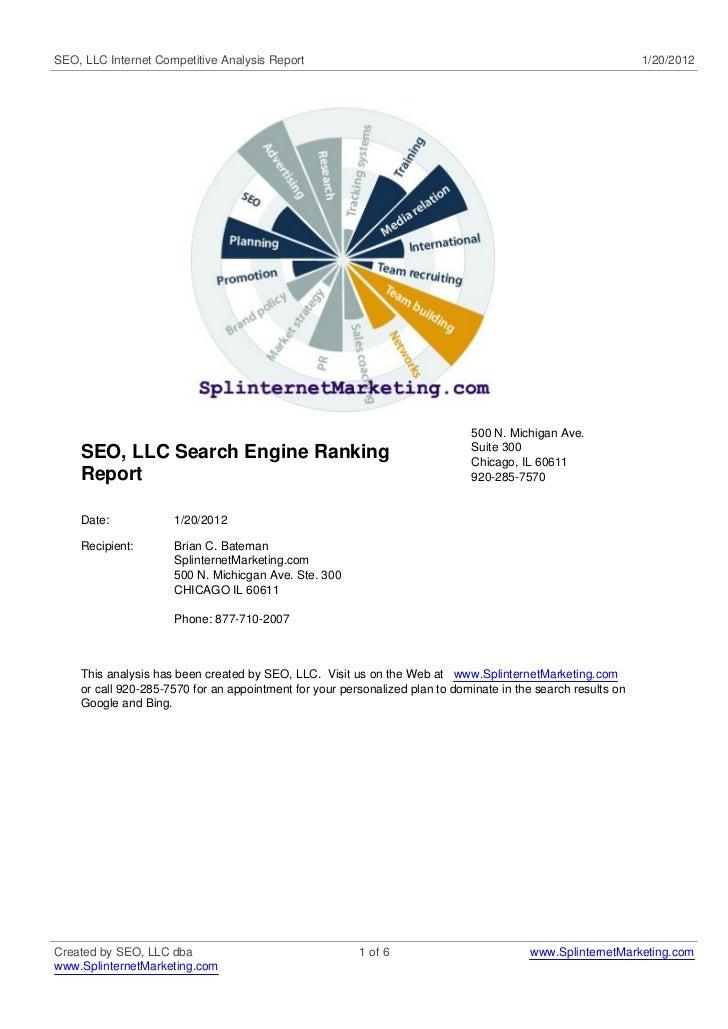 SEO, LLC Internet Competitive Analysis Report                                                                 1/20/2012   ...