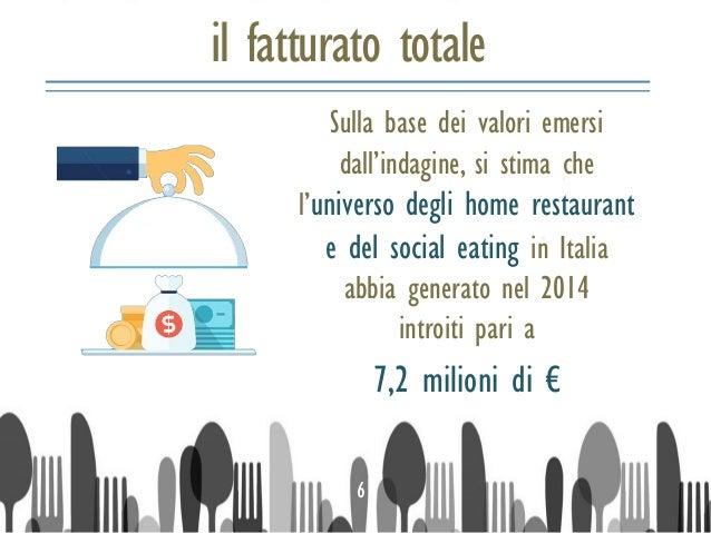 il fatturato totale Sulla base dei valori emersi dall'indagine, si stima che l'universo degli home restaurant e del social...