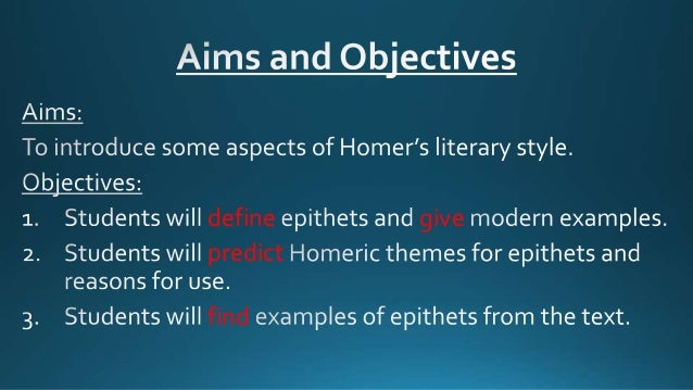 Homeric Epithets Writing Techniques