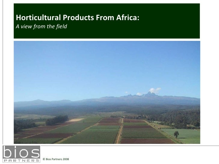 Horticultural Products From Africa:  A view from the field