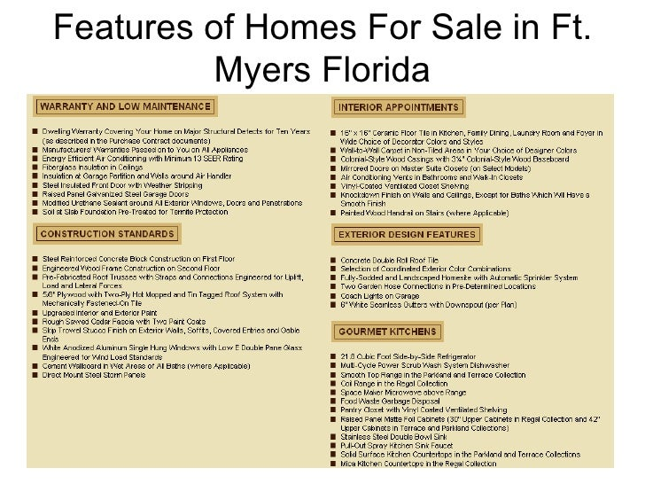 Features Of Homes For In Ft Myers Florida