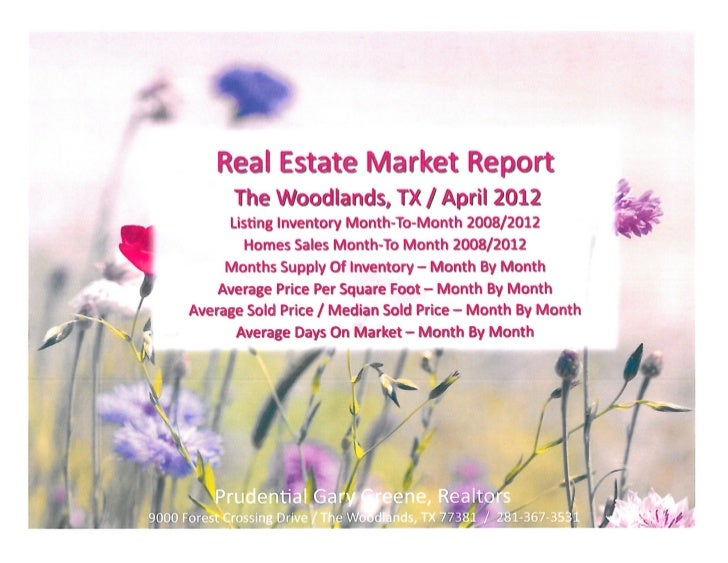 Home sales and listing inventory report for the woodlands tx   prudential gary greene realtors - april 2nd 2012