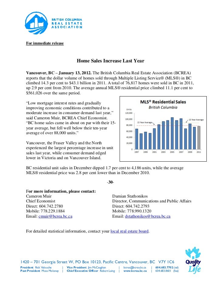 For immediate release                                         Home Sales Increase Last Year   Vancouver, BC – January 13, ...