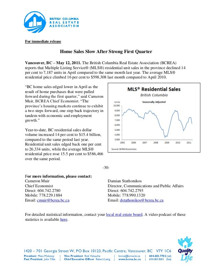 For immediate release                             Home Sales Slow After Strong First QuarterVancouver, BC – May 12, 2011. ...