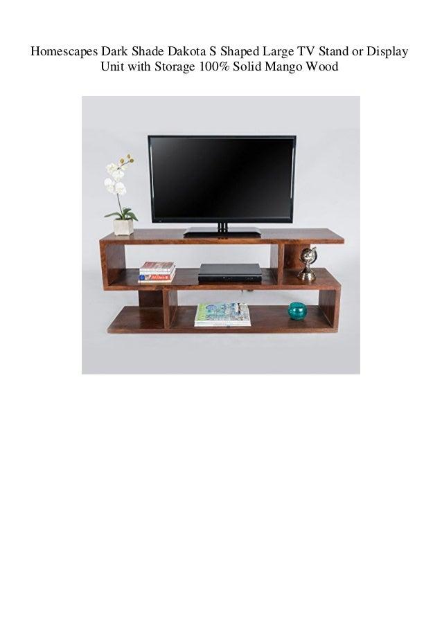 huge discount fe115 e53ea Homescapes Dark Shade Dakota S Shaped Large TV Stand or ...