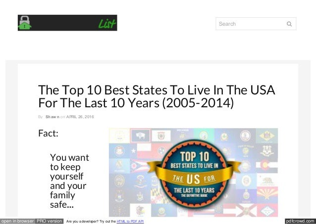 pdfcrowd.comopen in browser PRO version Are you a developer? Try out the HTML to PDF API The Top 10 Best States To Live In...
