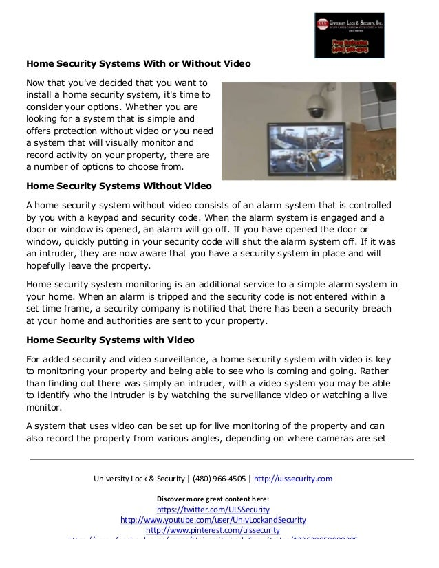 Home Security Systems With or Without Video ulssecurity