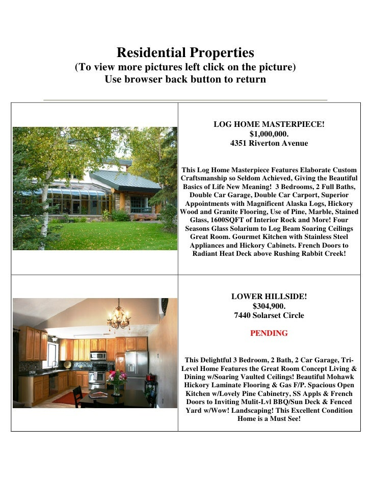Residential Properties(To view more pictures left click on the picture)      Use browser back button to return            ...