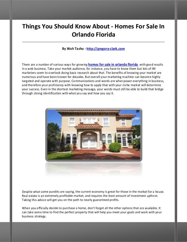 Things You Should Know About - Homes For Sale In                 Orlando Florida__________________________________________...