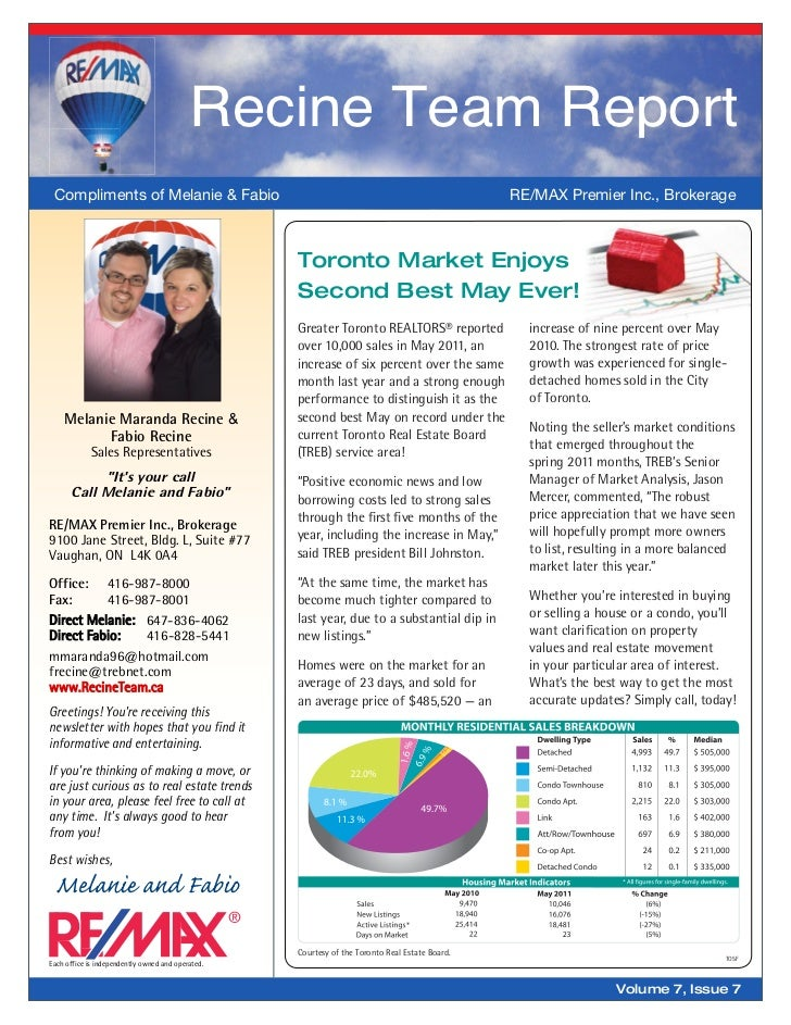 Recine Team Report Compliments of Melanie & Fabio                                                                 RE/MAX P...