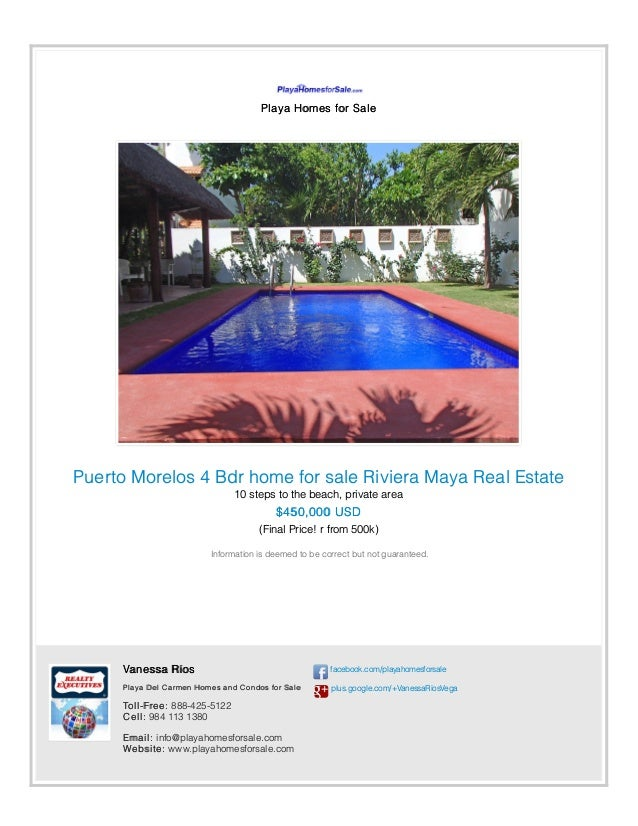 Playa Homes for Sale Puerto Morelos 4 Bdr home for sale Riviera Maya Real Estate 10 steps to the beach, private area $450,...