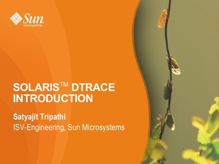 SOLARISTM DTRACE INTRODUCTION Satyajit Tripathi ISV-Engineering, Sun Microsystems                                       1