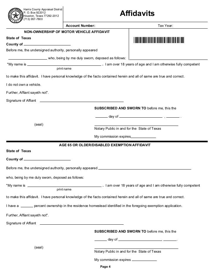 Homestead exemption form