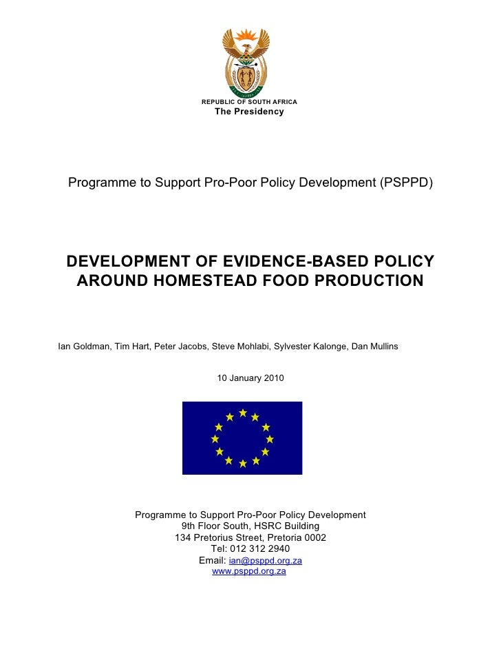 REPUBLIC OF SOUTH AFRICA                                      The Presidency       Programme to Support Pro-Poor Policy De...