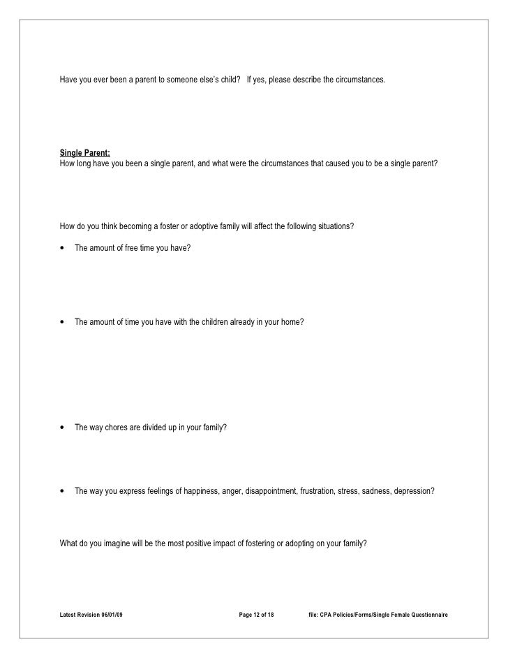 Single parent questionnaire
