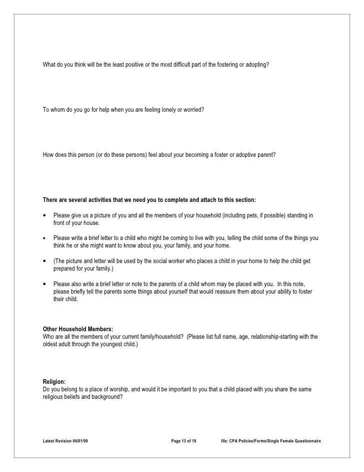 Single parent questionnaire