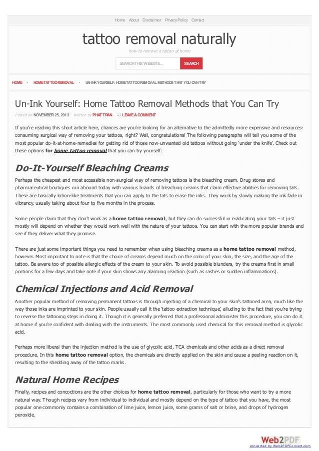Un ink yourself home tattoo removal methods that you can try for I want to remove my tattoo at home