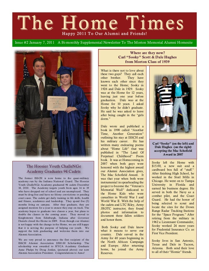 The Home Times                          Happy 2011 To Our Alumni and Friends!Issue #2 January 7, 2011 A Bi-monthly Supplem...