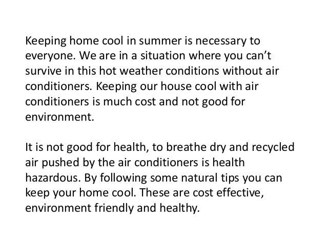 Natural Tips To Keep Your Home Cool In Summer
