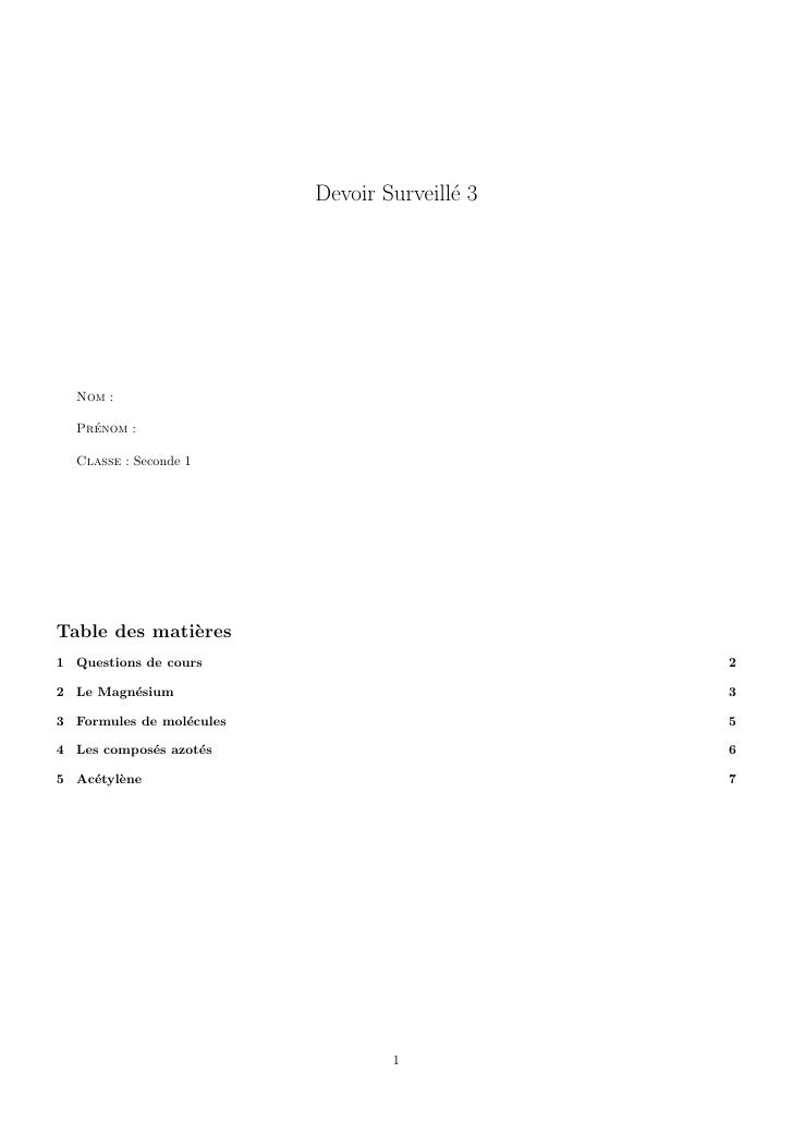 Devoir Surveill´ 3                                          e       Nom :    Prenom :     ´    Classe : Seconde 1     Tabl...