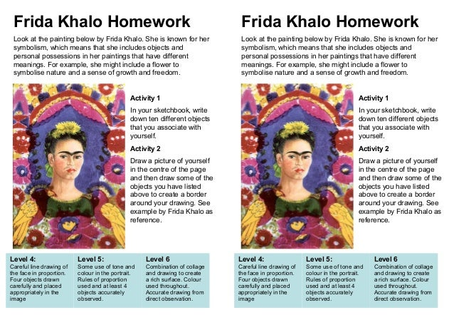 Frida Khalo Homework  Frida Khalo Homework  Look at the painting below by Frida Khalo. She is known for her symbolism, whi...
