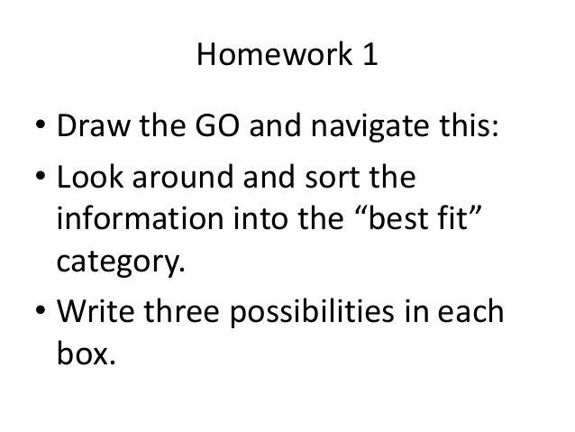"Homework 1  • Draw the GO and navigate this:  • Look around and sort the  information into the ""best fit""  category.  • Wr..."