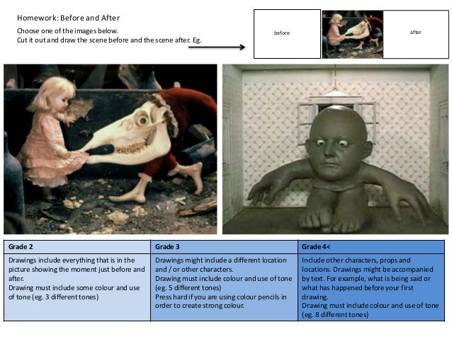 Homework: Before and After Choose one of the images below. Cut it out and draw the scene before and the scene after. Eg. b...