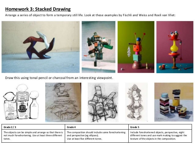 Homework 3: Stacked Drawing Arrange a series of object to form a temporary still life. Look at these examples by Fischli a...