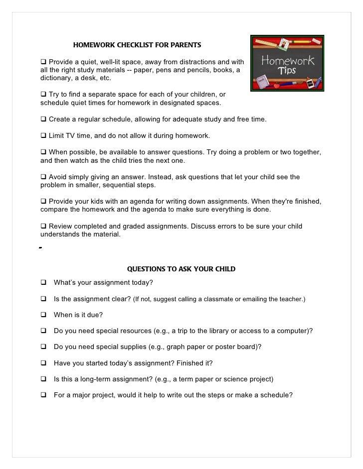 Homework Checklist For Parents