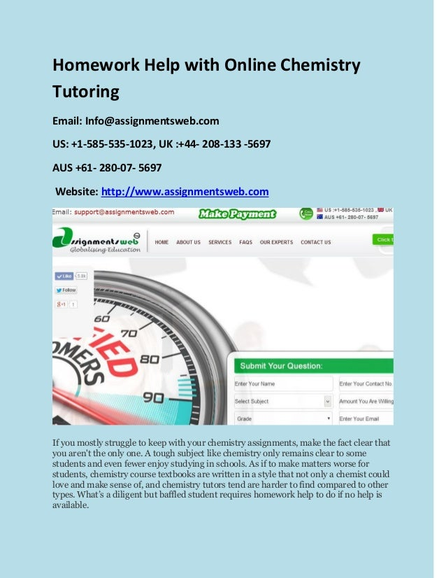 Homework help with chemistry