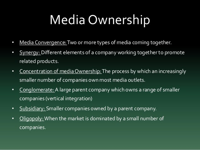 media ownership This definition explains what cross-media ownership is we discuss the  concentration of media companies and why it's a problem.