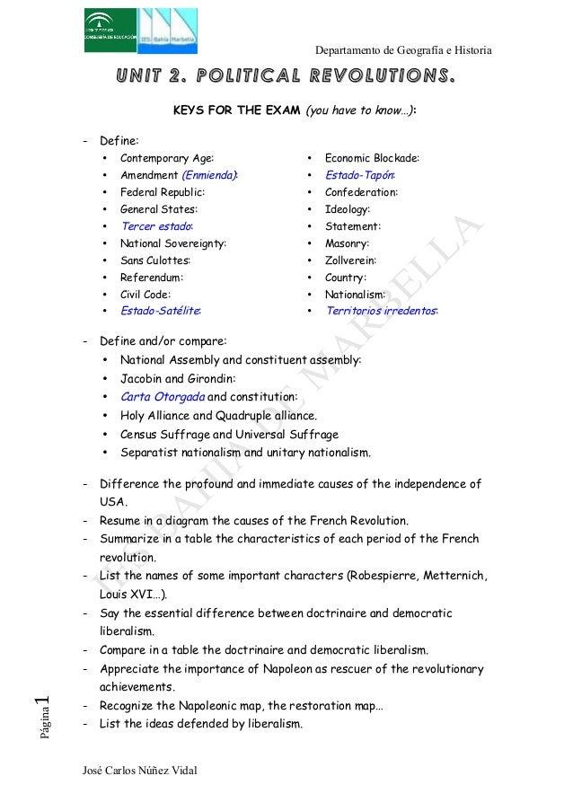 Departamento de Geografía e Historia  UNIT 2. POLITICAL REVOLUTIONS.  KEYS FOR THE EXAM (you have to know…):  - Define:  •...