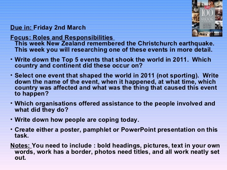 <ul><li>Due in:  Friday 2nd March  </li></ul><ul><li>Focus: Roles and Responsibilities  This week New Zealand remembered t...