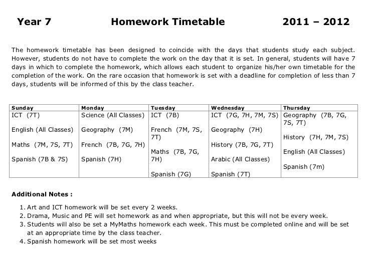 Year 7                          Homework Timetable                                    2011 – 2012The homework timetable ha...
