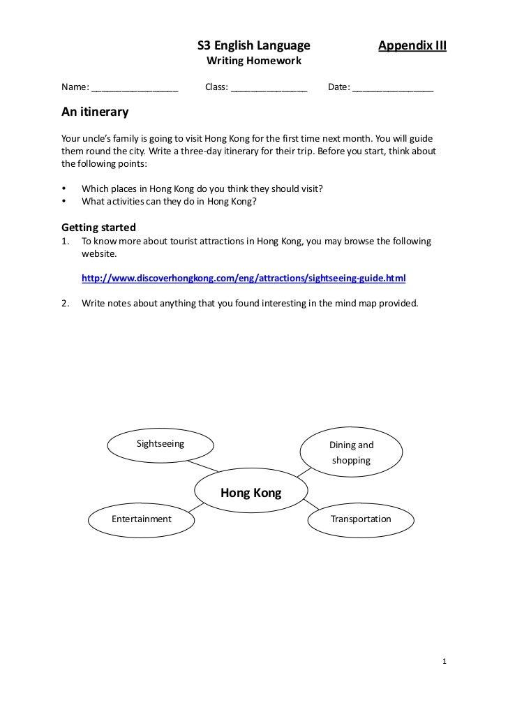 S3 English Language                           Appendix III                                    Writing HomeworkName: ______...